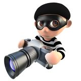 3d Funny cartoon burglar thief character taking a photo with a camera. 3d render of a funny cartoon burglar thief character taking a photo with a camera Royalty Free Stock Photo