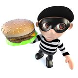 3d Funny cartoon burglar thief holding a cheese burger. 3d render of a funny cartoon burglar thief holding a cheese burger Royalty Free Stock Photography
