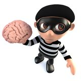 3d Funny cartoon burglar thief holding a human brain. 3d render of a funny cartoon burglar thief holding a human brain Stock Photos