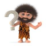 3d Funny cartoon caveman character has a question. 3d render of a funny cartoon caveman character holding a question mark symbol Stock Photo
