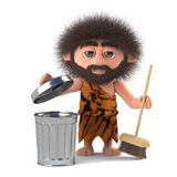 3d Funny cartoon caveman sweeps up the mess. 3d render of a funny cartoon caveman sweeping up the mess Royalty Free Stock Image