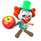 3d Funny cartoon clown character holding a red apple. 3d render of a funny cartoon clown character holding a red apple Royalty Free Stock Photo