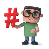 3d Funny cartoon computer nerd student character has a hash tag symbol Royalty Free Stock Photography