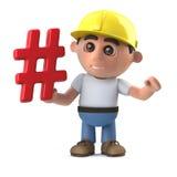 3d Funny cartoon construction worker character has a hashtag symbol. 3d render of a funny cartoon construction worker character holding a hash tag symbol Stock Image