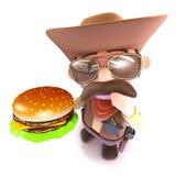 3d Funny cartoon cowboy holding a cheese burger. 3d render of a funny cartoon cowboy holding a cheese burger Stock Image