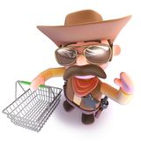 3d Funny cartoon cowboy sheriff carrying a shopping basket. 3d render of a funny cartoon cowboy sheriff carrying a shopping basket Stock Images
