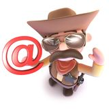 3d Funny cartoon cowboy sheriff character holding an email address symbol. 3d render of a funny cartoon cowboy sheriff character holding an email address symbol royalty free illustration