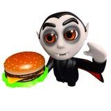 3d Funny cartoon dracula vampire character eating a cheese burger. 3d render of a funny cartoon dracula vampire character eating a cheese burger Royalty Free Stock Photos