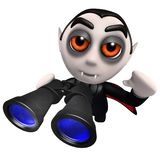 3d Funny cartoon dracula vampire character holding a pair of binoculars. 3d render of a funny cartoon dracula vampire character holding a pair of binoculars Stock Photo