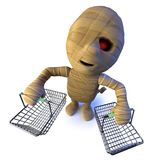 3d Funny cartoon Egyptian mummy monster character carrying shopping baskets. 3d render of a funny cartoon Egyptian mummy monster character carrying shopping Stock Photos
