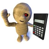 3d Funny cartoon Egyptian mummy monster character holding a calculator. 3d render of a funny cartoon Egyptian mummy monster character holding a calculator Royalty Free Stock Photos