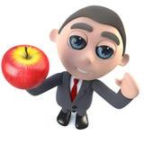 3d Funny cartoon executive businessman character holding an apple. 3d render of a funny cartoon executive businessman character holding an apple Stock Photography