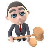 3d Funny cartoon executive businessman character holding an auction. 3d render of a funny cartoon executive businessman character holding an auction Royalty Free Stock Image