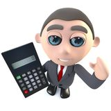 3d Funny cartoon executive businessman character using a calculator. 3d render of a funny cartoon executive businessman character using a calculator Stock Images
