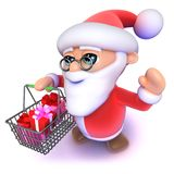 3d Funny cartoon Father Xmas carrying a Christmas shopping basket. 3d render of a funny cartoon Father Xmas carrying a Christmas shopping basket Stock Images