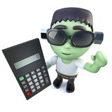 3d Funny cartoon frankenstein halloween monster holding a calculator. 3d render of a funny cartoon frankenstein halloween monster holding a calculator Royalty Free Stock Images