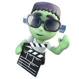 3d Funny cartoon frankenstein halloween monster holding a clapperboard. 3d render of a funny cartoon frankenstein halloween monster holding a clapperboard Stock Image