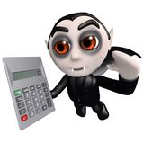 3d Funny cartoon Halloween dracula vampire holding a calculator. 3d render of a funny cartoon Halloween dracula vampire holding a calculator Royalty Free Stock Photos