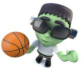 3d Funny cartoon Halloween frankenstein monster holding a basketball. 3d render of a funny cartoon Halloween frankenstein monster holding a basketball Royalty Free Stock Photos