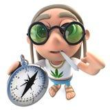 3d Funny cartoon hippy stoner character holding a compass. 3d render of a funny cartoon hippy stoner character holding a compass stock illustration