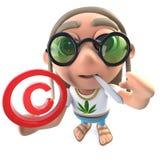 3d Funny cartoon hippy stoner character holding a copyright symbol. 3d render of a funny cartoon hippy stoner character holding a copyright symbol royalty free illustration