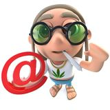 3d Funny cartoon hippy stoner character holding an email address symbol. 3d render of a funny cartoon hippy stoner character holding an email address symbol stock illustration
