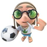 3d Funny cartoon hippy stoner character holding football soccer ball. 3d render of a funny cartoon hippy stoner character holding football soccer ball royalty free illustration