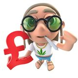 3d Funny cartoon hippy stoner character holding a UK Pounds currency symbol. 3d render of a funny cartoon hippy stoner character holding a UK Pounds currency stock illustration
