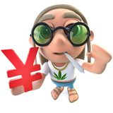 3d Funny cartoon hippy stoner character holding a Yen currency symbol. 3d render of a funny cartoon hippy stoner character holding a Yen currency symbol vector illustration