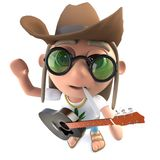 3d Funny cartoon hippy stoner character wearing a cowboy hat and playing guitar. 3d render of a funny cartoon hippy stoner character wearing a cowboy hat and stock illustration
