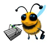 3d Funny cartoon honey bee character carrying a shopping basket. 3d render of a funny cartoon honey bee character carrying a shopping basket Royalty Free Stock Image