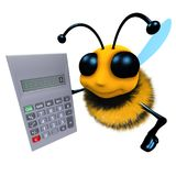 3d Funny cartoon honey bee character holding a calculator. 3d render of a funny cartoon honey bee character holding a calculator Royalty Free Stock Photography