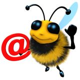 3d Funny cartoon honey bee character holding an email address symbol. 3d render of a funny cartoon honey bee character holding an email address symbol Royalty Free Stock Photos