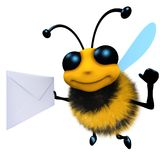3d Funny cartoon honey bee character holding an envelope message. 3d render of a funny cartoon honey bee character holding an envelope message Royalty Free Stock Photography