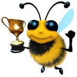 3d Funny cartoon honey bee character holding a gold cup trophy. 3d render of a funny cartoon honey bee character holding a gold cup trophy Royalty Free Stock Images