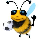 3d Funny cartoon honey bee character holding a soccer football royalty free illustration
