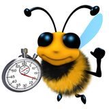 3d Funny cartoon honey bee character holding a stopwatch timer vector illustration