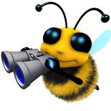 3d Funny cartoon honey bee character looking through binoculars. 3d render of a funny cartoon honey bee character looking through binoculars Royalty Free Stock Photo
