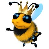 3d Funny cartoon honey bee character wearing a royal gold crown stock illustration