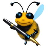 3d Funny cartoon honey bee character writing with a pen. 3d render of a funny cartoon honey bee character writing with a pen Stock Photos