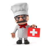 3d Funny cartoon Italian pizza chef character brings first aid kit. 3d render of a funny cartoon Italian pizza chef character holding a first aid kit Stock Images