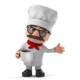 3d Funny cartoon Italian pizza chef character drinking a cup of coffee Royalty Free Stock Images