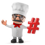 3d Funny cartoon Italian pizza chef character holding a hash tag symbol. 3d render of a funny cartoon Italian pizza chef character holding a hash tag symbol Stock Photo
