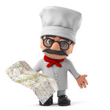 3d Funny cartoon Italian pizza chef character reading a map Stock Images