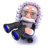 3d Funny cartoon judge holding a pair of binoculars. 3d render of a funny cartoon judge holding a pair of binoculars Stock Photo