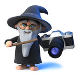 3d Funny cartoon magic wizard character holding a camera Stock Image