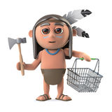 3d Funny cartoon Native American Indian boy goes shopping with a basket Royalty Free Stock Photo