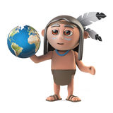 3d Funny cartoon Native American Indian warrior holds a globe of the Earth Royalty Free Stock Image