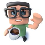 3d Funny cartoon nerd geek character drinking a cup of coffee. 3d render of a funny cartoon nerd geek character drinking a cup of coffee Stock Images