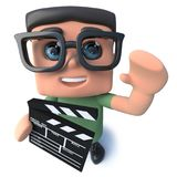 3d Funny cartoon nerd geek character holding a movie maker film slate. 3d render of a funny cartoon nerd geek character holding a movie maker film slate Stock Photo